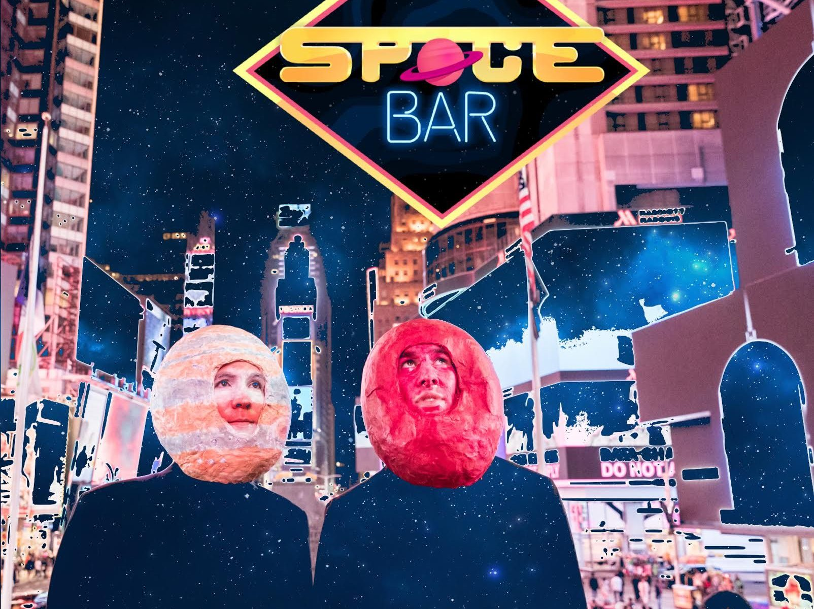 Spacebar characters Mars and Jupiter in Times Square